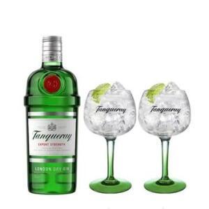 [De volta R$ 50] Combo Gin Tanqueray London Dry 750ml + 2 Taças Tanqueray Importadas | R$ 200