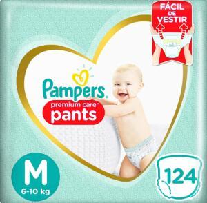 Fralda Pampers Pants Premium Care M 124 unidades