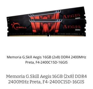 Memória ram Gskil 16G 2x8G ddr4 2400mhz CL15 | R$499