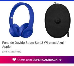 [AME 50%]Fone de Ouvido Beats Solo3 Wireless Azul - Apple | R$ 1199