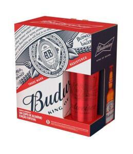 [APP + Cliente Ouro] Kit Cerveja Budweiser - 4 unidades de 330ml + 1 copo | R$28