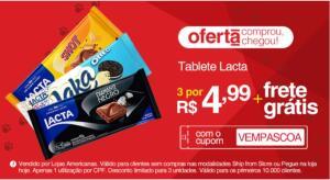 3 Tabletes Lacta | R$4,99 + Frete Grátis