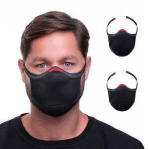 Kit com 2 Máscaras de Proteção Knit 3D Preta - Fiber | R$ 95