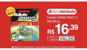 (APP L3P2 ) Carga Gillette Mach 3 Sensitive R$16