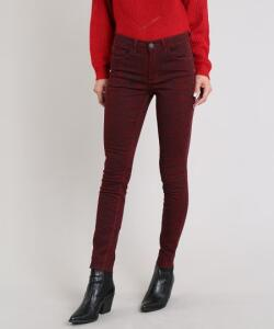 Calça de sarja feminina skinny estampada animal print vinho (34 e 36) - R$34