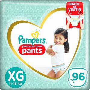 Fralda Pampers Pants Premium Care XG 96 unidades - R$108