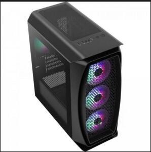 Gabinete Gamer Mini Tower Aero ONE Mini Preto Aerocool + 4 fans RGB   R$ 315
