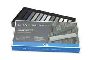 Giz Pastel Seco Graf Soft, CIS, Caixa c/12 cores com tons de cinza | R$51