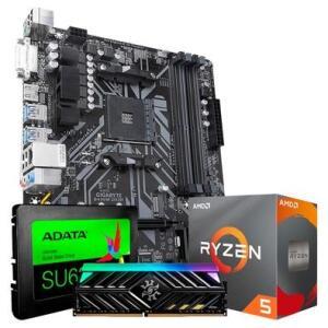 Kit Upgrade TITO: Placa-Mãe Gigabyte B450M + Memória XPG D41 TUF, 8GB,+ Processador AMD Ryzen 5 3600 + SSD Adata SU635, 480GB, SATA | R$2470