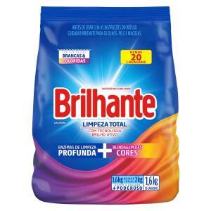 Lava-Roupas Sanitizante Em Pó BRILHANTE Limpeza Total Combate Germes E Bactérias 1.6Kg R$10