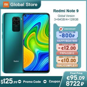 Smartphone Xiaomi Redmi Note 9 NFC Global 4GB 128GB + Pelicula e Capa | R$889