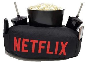 Kit Almofada C/Porta Pipoca Balde +2 Copos Netflix C/Bolso | R$ 72