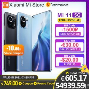 Smartphone XIaomi Mi 11 5G 8GB+128GB 120Hz   R$4.443