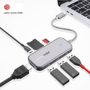 Adaptador USB-c BlitzWolf® BW-TH5 7 in 1 USB-C   Data Hub - R$146