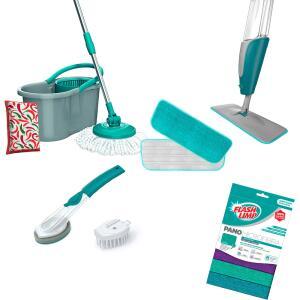 Mop Spray + Mop Fit Giratório 3 em 1 + Conjunto de Esponja e Escova com Dispenser Fun Clean | R$180