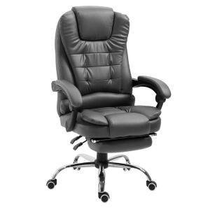 Cadeira Escritório Big Boss Presidente Reclinável com apoio retrátil - Couro PU Preto R$907