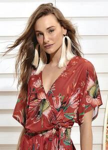 Colcci - Blusa Transpassada Floral Vermelha R$109