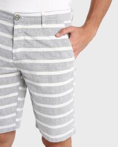 Bermuda Jeans Color Chino Listrada - Cinza Claro | R$18