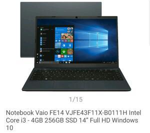 "Notebook Vaio Intel Core i3 - 4GB 256GB SSD 14"" | R$2654"