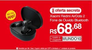 Fone de ouvido Bluetooth Xiaomi Redmi Airdots 2 | R$69