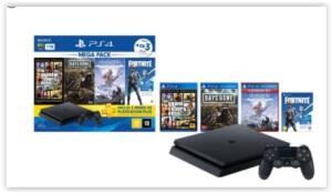 [Reembalado] Console Ps4 1TB + 3 Jogos + Voucher Fortnite + Controle DualShock 4 Bundle Hits 6 - Sony | R$ 1919