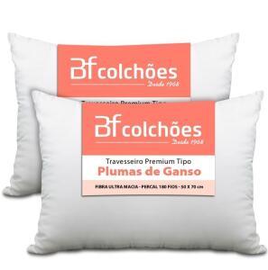 [APP + AME: R$64] Kit 2 Travesseiros Pluma de Ganso Ecológica BF Colchões