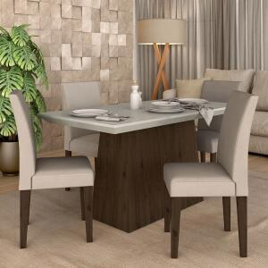 [AME - R$657] Conjunto Sala De Jantar 4 Cadeiras Italia Imbuia | R$773