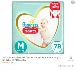 Fralda Pampers Premium care PANTS   R$ 54