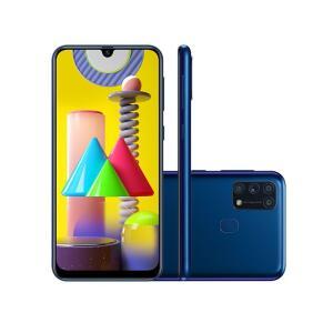 "Galaxy M31 128GB Azul 4G Tela 6.4"" Câmera Quádrupla 64MP Selfie 32MP Dual Chip Android 10 R$1549"