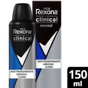 Desodorantes Antitranspirante Rexona Men Aerosol Clean Clinical 150ml - Incolor | R$ 15,99