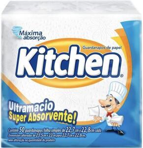 10 unidades Guardanapos de papel Kitchen, Folha Simples, 50 unidades de 22,27x22,8 cm R$10