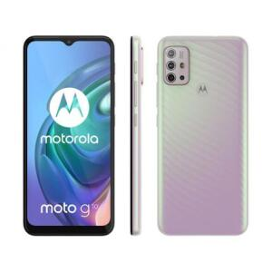 "Smartphone Motorola Moto G10 64GB Branco Floral - 4G 4GB RAM Tela 6,5"" | R$1299"
