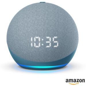 [prime + App] Echo Dot (4ª geração) Smart Speaker Amazon com Relógio e Alexa Azul | R$296