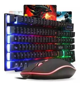 Kit Com Fio Usb Teclado C/ Mouse Led Rgb Abnt II BK-G550 Exbom | R$95