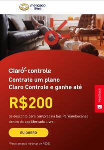 Ative seu plano Claro Controle e ganhe R$200 OFF nas Pernambucanas.