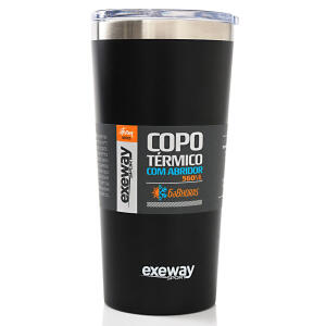 Copo Térmico Exeway com Abridor 560ml, Preto | R$100