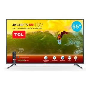 Smart TV LED 65´ 4K TCL, Android TV, 3 HDMI, 2 USB, Bluetooth, Wi-Fi, HDR, Chumbo - 65P8M   R$3299
