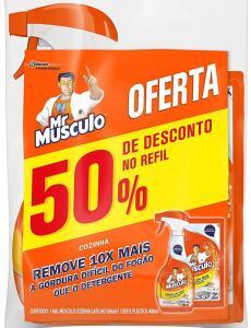 (Prime +recorrência) Limpador Desengordurante Mr Músculo Cozinha Total Pack Gatilho 500ml + Refil 400ml | R$12