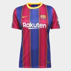 Camisa Barcelona Home 20/21 s/n° Torcedor Nike Feminina - Azul+Grená   R$112