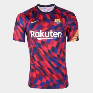 Camisa Barcelona Pré-Jogo 20/21 Nike Masculina - Vermelho+Azul | R$96
