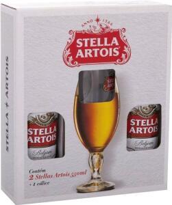 [C.OURO + M.PAY R$24,67] Kit 2 cervejas Stella Artois 550ml + 1 cálice (Leia descrição)