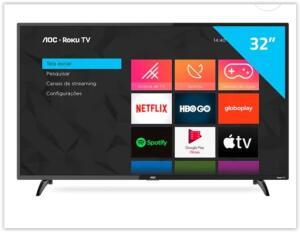"AOC Roku TV Smart TV LED 32"" HD 32S5195/78 | R$ 1084"