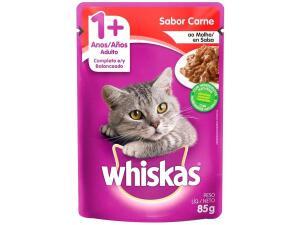[Cliente Ouro + MagaluPay = R$0,58] Ração Úmida para Gato Adulto Sachê - Whiskas Carne ao Molho 85g