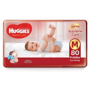 Fralda Huggies Supreme Care M - 80 Unidades   R$ 58