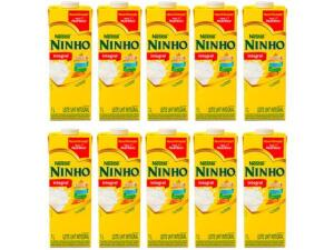 Kit Leite Integral UHT Ninho 1L 10 Unidades | R$ 23