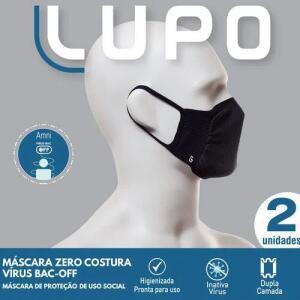 Máscara Lupo Zero Costura Vírus Bac-Off   kit 2 unidades   R$21
