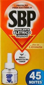 Repelente Elétrico Liquido 45 Noites Refil Citronela, Sbp   R$ 4,74