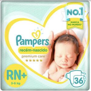 Fraldas Pampers Recém-Nascido Premium Care RN+ 36 Unid | R$21