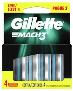 Refil Para Barbear Gillette Mach3 4 Unidades, Gillette | R$24