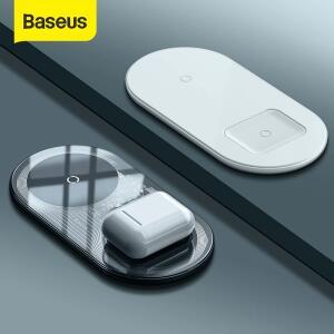 Baseus Carregador sem fio duplo de 15W para iPhone 11 Pro Max X XS Max XR Almo R$166